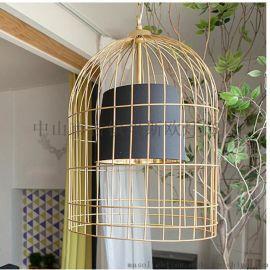 铁艺鸟笼灯吊灯中式仿古现代落地灯酒店茶楼餐厅灯具鸟笼灯MS-P6040