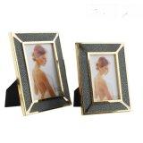 魔鬼魚皮紋黑色皮革不鏽鋼金色金屬相框擺件6寸7寸軟裝樣板間飾品