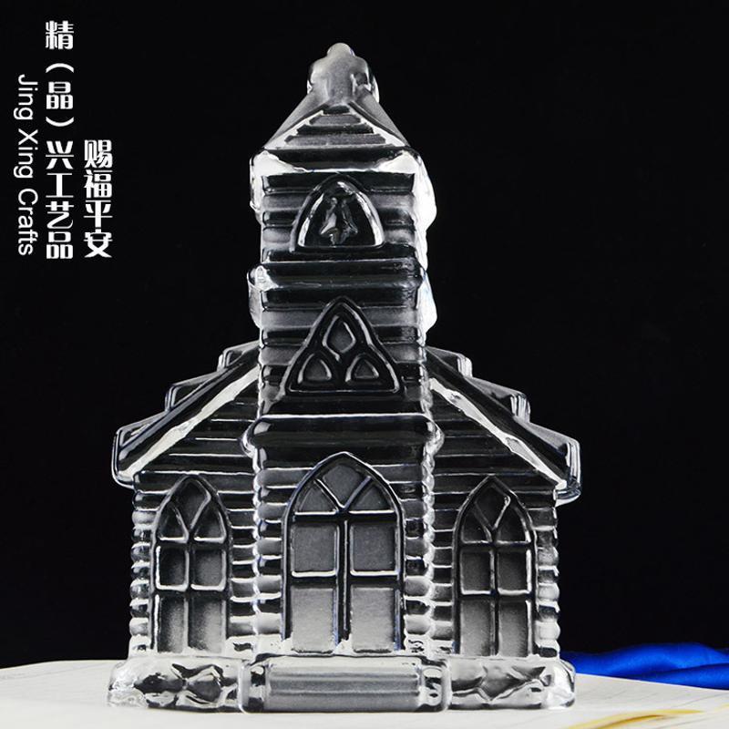 赐福平安建筑水晶摆件 广州水晶礼品定制批发