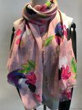 圍巾工廠-外貿滌綸花朵印花圍巾