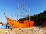 出售河南房地产景观船景区户外装饰海盗木船厂家