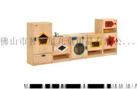 智拓星幼儿园实木厨房造型玩具柜