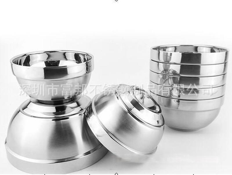 厂价直销  加厚型不锈钢碗铂金碗防烫磨砂碗(加厚足尺寸)
