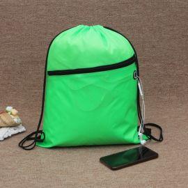 拉链绿色束口袋购物袋定制logo牛津布袋涤纶袋