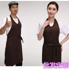 韩式工作围裙挂脖围裙定制logo家居    店广告围裙服务员围裙