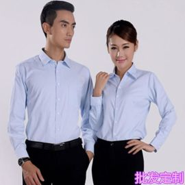 男女同款职业衬衣长袖修身银行4S店教师工作服正装衬衫定制绣logo
