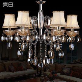 亮日现代简约欧式铁艺水晶吊灯 后现代客厅灯卧室灯 简欧灯具灯饰