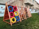 幼兒園戶外大型木制玩具攀爬爬架組合木質攀網架蕩橋鑽洞體能訓練