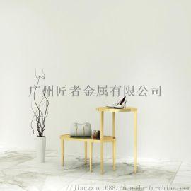 匠者金色展示架 金色衣架展架 金架子衣服店  金色流水台 金色不锈钢展示架定制