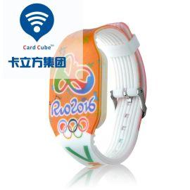 卡立方定制RFID手腕带 高频F08硅胶手腕带 游泳池NFC识别IC手腕带