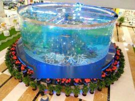 青海鱼缸工厂定制圆形亚克力鱼缸 鱼缸造景