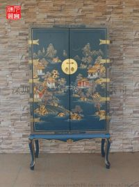 凡高漆器樟木藍底亭臺樓閣山水雙門櫃