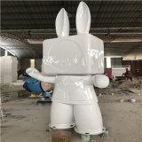 江門玻璃鋼大兔子雕塑、商場玻璃鋼吉祥物雕塑定做