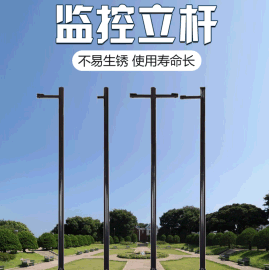 监控杆3米/4米**机支架高速球支架室外金属烤漆 监控杆