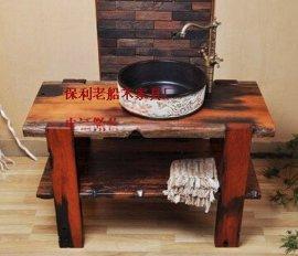 老船木洗手柜实木浴室柜组合实木家具洗面盆石头艺术洗手盆