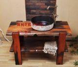 老船木洗手櫃實木浴室櫃組合實木家具洗面盆石頭藝術洗手盆