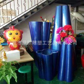 厂家直销商场景观玻璃钢花盆 异形组合花盆 创意花盆