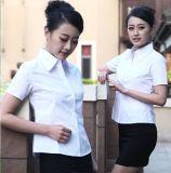 夏季短袖純白色職業襯衫女前臺收銀員翻領襯衣酒店咖啡廳工作服裝