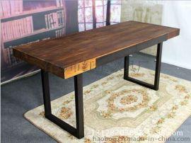 组合长方形餐桌椅铁艺实木餐桌椅组合休闲会所咖啡西餐厅茶店桌椅