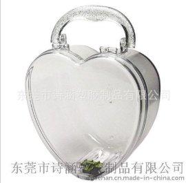 提供 高透明加硬 心形塑料盒 手提型 首饰塑料盒(规格见描述)