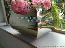 装饰品花盆 不锈钢镜面锥形花盆 真空镀膜花盆造型