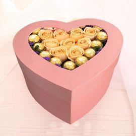 精美情人节心形礼物盒高档礼盒 厂家专业定制手工鲜花包装纸盒