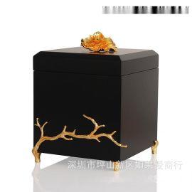 黑色金色正方形木质烤漆合金首饰盒欧式创意客厅卧室酒店实木摆件