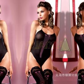 亚马逊速卖通爆款情趣丝袜批发新款花纹绑带情趣连身衣丝三件套