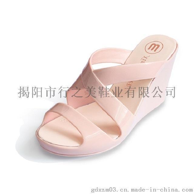 行之美坡跟春夏女式果冻色透气舒适搭扣凉拖鞋