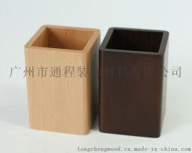 竹笔筒 办公用品收纳盒 木质文具收纳盒 多功能木笔筒