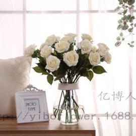 保湿玫瑰花单枝手感玫瑰花家居装饰假花仿真花 保湿绢布玫瑰