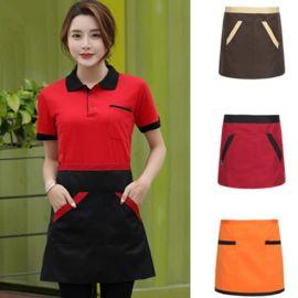 韩式快餐店男女服务员围裙厨房半身配色围裙半身短款图案拼色围腰