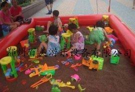 广东阳江充气沙滩池,小孩玩具沙床气垫池订做厂家