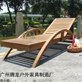 户外实木带扶手沙滩椅泳池防腐沙滩椅酒店躺椅海边休息椅午休椅