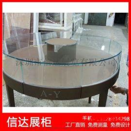 不锈钢弧形展示柜圆形珠宝柜台透明玻璃展示柜