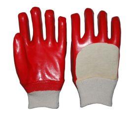 顺兴厂家直销 PVC 防护手套 红色棉毛布或绒布内衬半浸罗口26cm
