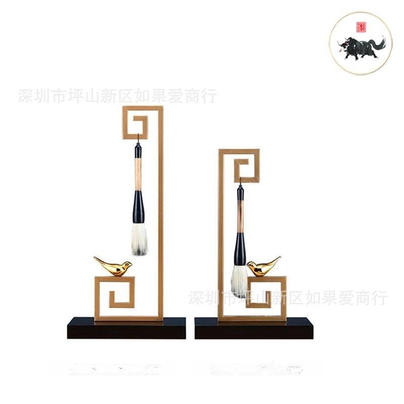 新中式現代簡約古典樣板間金屬大理石金色毛筆架書房軟裝飾品擺件