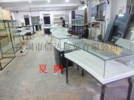 不锈钢弧形珠宝展示柜珠宝展览陈列柜透明玻璃展示柜
