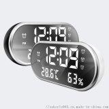 廠家LED溫溼度計鏡面鬧鐘  支持手機充電鐘