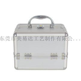 厂家直销铝合金化妆箱 手提式双开带托盘收纳箱定制