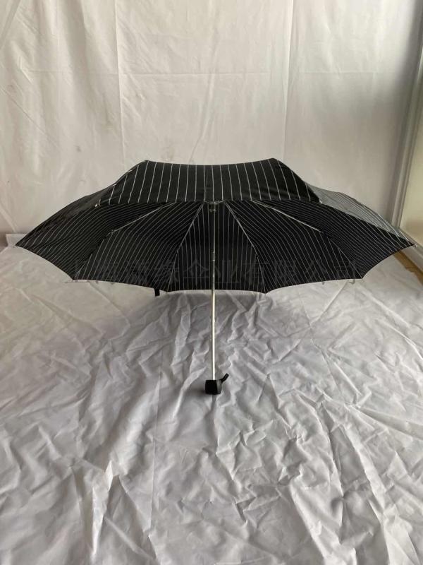 简约商务男士折叠伞潮流条纹碰击布三折晴雨伞批发定制