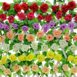 仿真花绢布玫瑰花藤家居小装饰藤条墙饰壁饰婚礼永生花干花