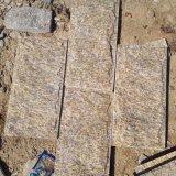 廠家直銷黃色蘑菇石 黃色壘牆石 黃色不規則片石冰裂紋碎拼石