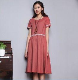 2014夏季女装韩版休闲纯棉长裙小清新短袖连衣裙女装