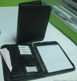 定做A4笔记本记事本文件夹PU经理夹、拉链包资料夹带计算器文件夹