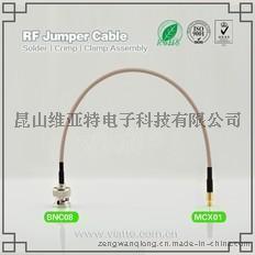 BNC08-MCX01BNC(Plug)  公针 to MCX(Plug)  公针直式铆压接RG316_RG174同轴电缆/50Ω