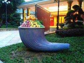 树脂雪糕造型雕塑|玻璃钢水果点缀雪糕桶户外摆设定制
