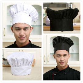 酒店廚師工作帽廚房蛋糕店食品防塵衛生白布男女廚師蘑菇帽子調節