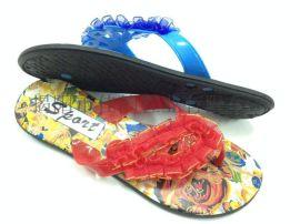 2015新款揭阳厂家供应女款民族丝带面拖鞋