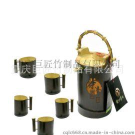 厂家定制天然竹子带提手仿古竹茶水壶竹茶杯创意独特礼品出口